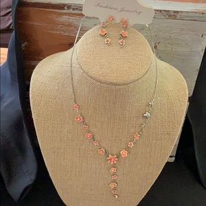 Delicate yellow-Pink flower earring & Necklace Set